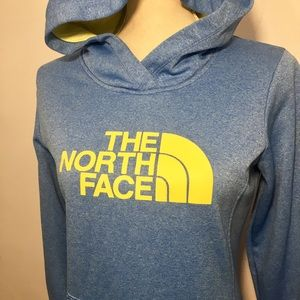 6bce806e4 North Face Yellow Logo Pullover Blue Hoodie SP